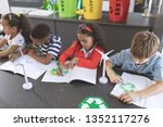 high angle view of school kids... | Shutterstock . vector #1352117276