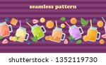 fruit smoothies  fruit slices... | Shutterstock .eps vector #1352119730
