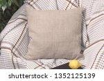 natural linen pillow on a chair ... | Shutterstock . vector #1352125139