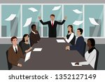 evil boss and his subordinates. ... | Shutterstock .eps vector #1352127149