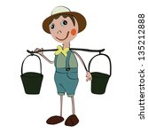 longneck gardener doll isolated | Shutterstock . vector #135212888