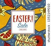 easter sale print design. | Shutterstock .eps vector #1352149010