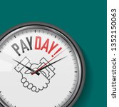 payday time. white vector clock ... | Shutterstock .eps vector #1352150063