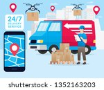 online tracking the movement of ... | Shutterstock .eps vector #1352163203