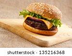 homemade gourmet hamburger on... | Shutterstock . vector #135216368