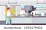 chef cook carrying plate with... | Shutterstock .eps vector #1352179403