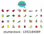 food sticker set.  meat ... | Shutterstock .eps vector #1352184089