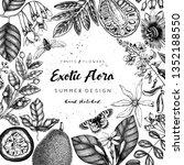 vintage floral template. ink... | Shutterstock .eps vector #1352188550