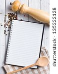 the recipe book with pepper spice - stock photo