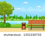 bench with tree and lantern in...   Shutterstock .eps vector #1352230733