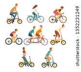 people riding bicycles set  men ... | Shutterstock .eps vector #1352231249