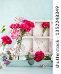bouquet of pink carnation in... | Shutterstock . vector #1352248349