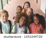 high angle view of happy school ... | Shutterstock . vector #1352249720