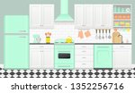 kitchen interior with retro... | Shutterstock .eps vector #1352256716