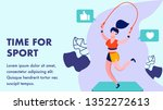time for sport  gym flat banner ... | Shutterstock .eps vector #1352272613