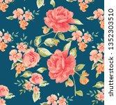 floral bouquet vector pattern    Shutterstock .eps vector #1352303510