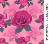 seamless pattern with rose... | Shutterstock .eps vector #1352304890