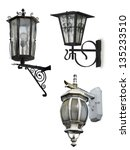 set of retro street lamps ... | Shutterstock . vector #135233510