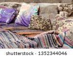 colored carpets and pillows in... | Shutterstock . vector #1352344046