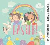 cute little girls with easter... | Shutterstock .eps vector #1352358266