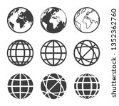 vector earth and globe icons set | Shutterstock .eps vector #1352362760