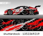 racing car wrap design vector.... | Shutterstock .eps vector #1352369219
