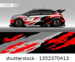 racing car wrap design vector.... | Shutterstock .eps vector #1352370413