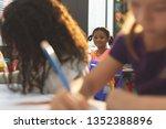 front view of schoolgirl... | Shutterstock . vector #1352388896