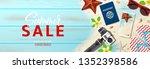 summer sale promo vector... | Shutterstock .eps vector #1352398586