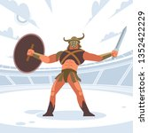 gladiator in armor with shield. ... | Shutterstock .eps vector #1352422229