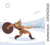 gladiator in a battle. vector... | Shutterstock .eps vector #1352422610