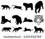 a collection of silhouettes of... | Shutterstock .eps vector #1352456789