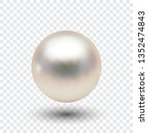 pearl  vector ball with shadow.... | Shutterstock .eps vector #1352474843