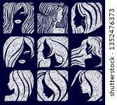 set of textured grunge... | Shutterstock .eps vector #1352476373