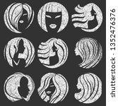 set of textured grunge... | Shutterstock .eps vector #1352476376