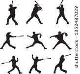 set of baseball player... | Shutterstock .eps vector #1352487029