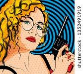 pop art woman with pistol bamm... | Shutterstock .eps vector #1352491919