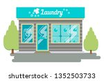 facade laundry. signboard with... | Shutterstock .eps vector #1352503733