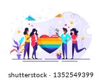love parade. a group of people... | Shutterstock .eps vector #1352549399
