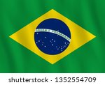 brazil flag with waving effect  ... | Shutterstock . vector #1352554709