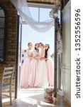 bride with three girlfriends of ... | Shutterstock . vector #1352556596