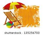 beach chair and umbrella | Shutterstock .eps vector #135256703