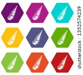 long shell icons 9 set coloful... | Shutterstock . vector #1352574239