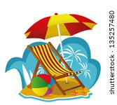 folding beach chair | Shutterstock .eps vector #135257480