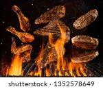 flying beef steaks  hamburgers... | Shutterstock . vector #1352578649