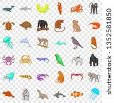 animal in nature icons set....   Shutterstock . vector #1352581850