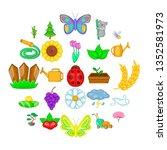 flowering icons set. cartoon... | Shutterstock . vector #1352581973