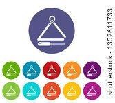 musical triangle icons color... | Shutterstock . vector #1352611733