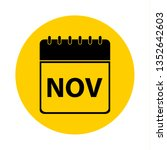 november calendar yellow vector ... | Shutterstock .eps vector #1352642603