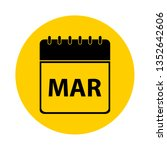 march calendar yellow vector... | Shutterstock .eps vector #1352642606